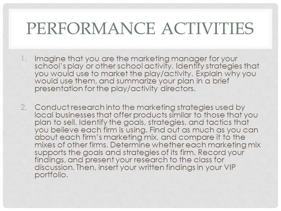 Performance ACTIVITIES
