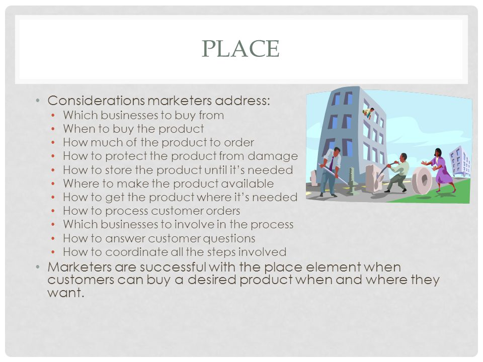 Place Considerations marketers address: