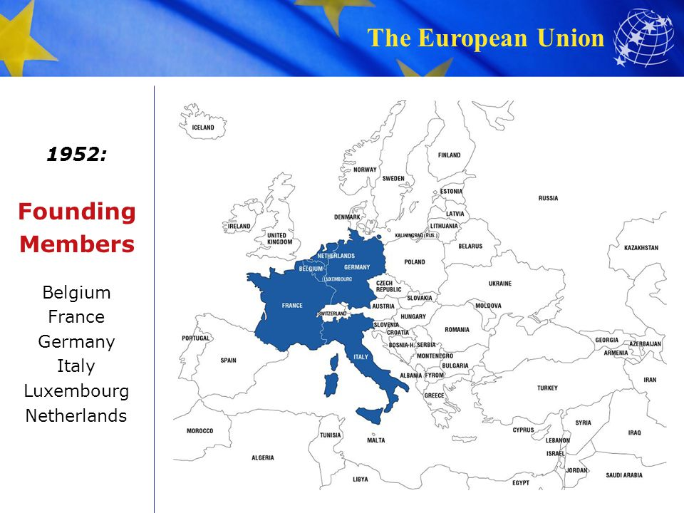 Founding Members 1952: Belgium France Germany Italy Luxembourg