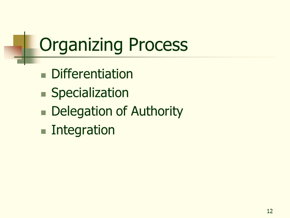 Organizing Process Differentiation Specialization