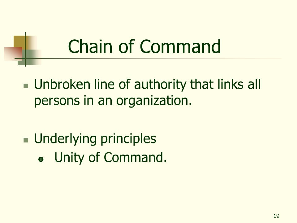Chain of Command Unbroken line of authority that links all persons in an organization. Underlying principles.