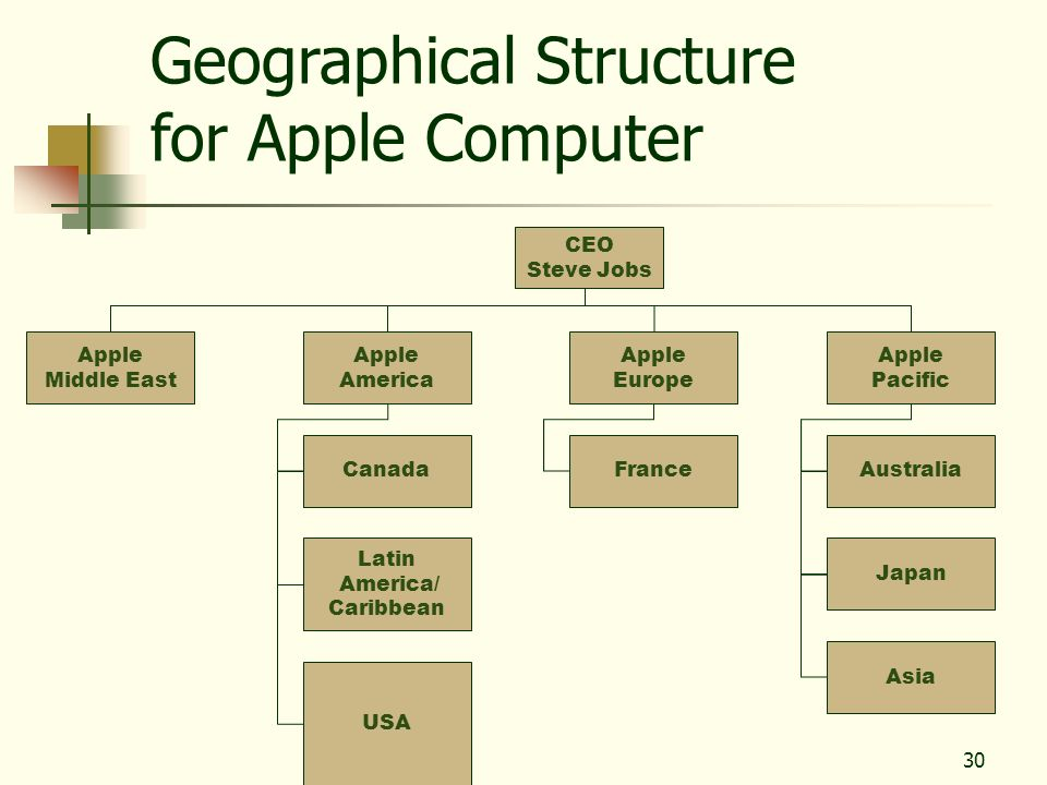 Geographical Structure for Apple Computer