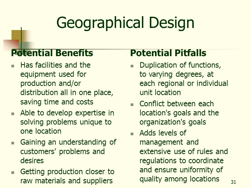 Geographical Design Potential Benefits Potential Pitfalls