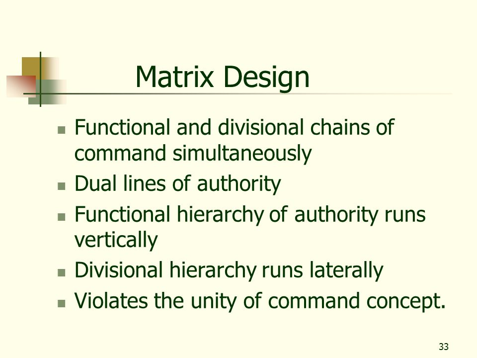 Matrix Design Functional and divisional chains of command simultaneously. Dual lines of authority.