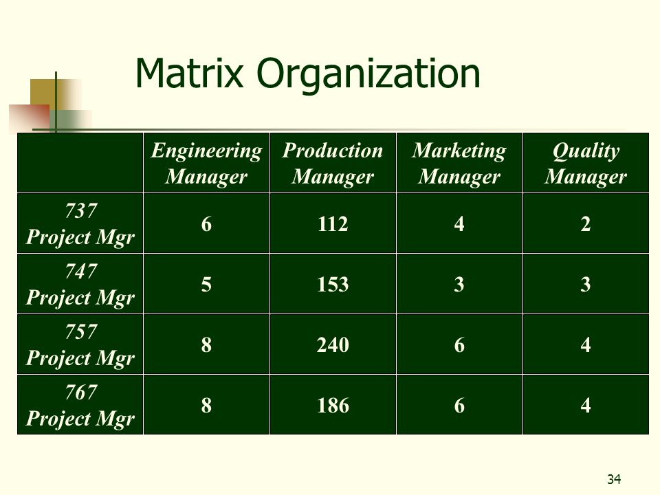 Matrix Organization Engineering Manager Production Manager Marketing