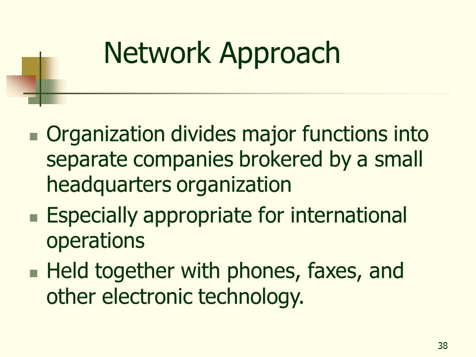 Network Approach Organization divides major functions into separate companies brokered by a small headquarters organization.