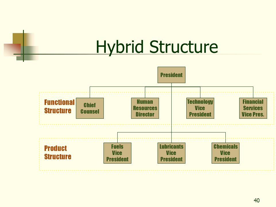 Hybrid Structure Functional Structure Product Structure President