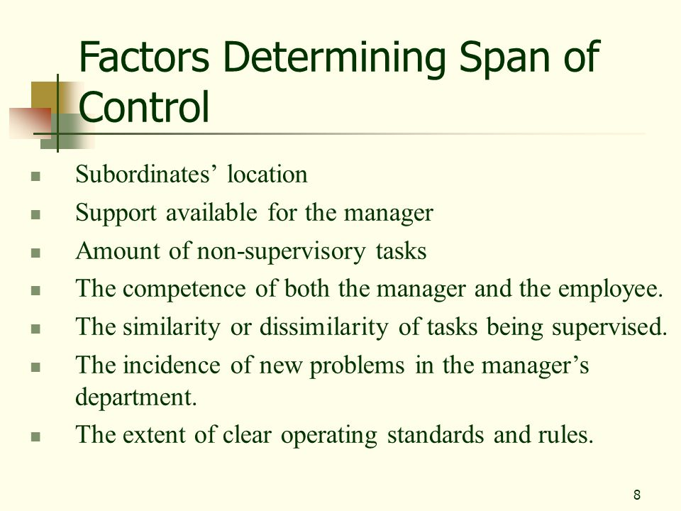 Factors Determining Span of Control