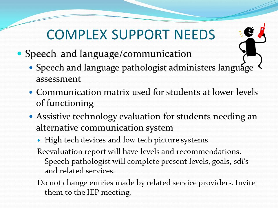 COMPLEX SUPPORT NEEDS Speech and language/communication