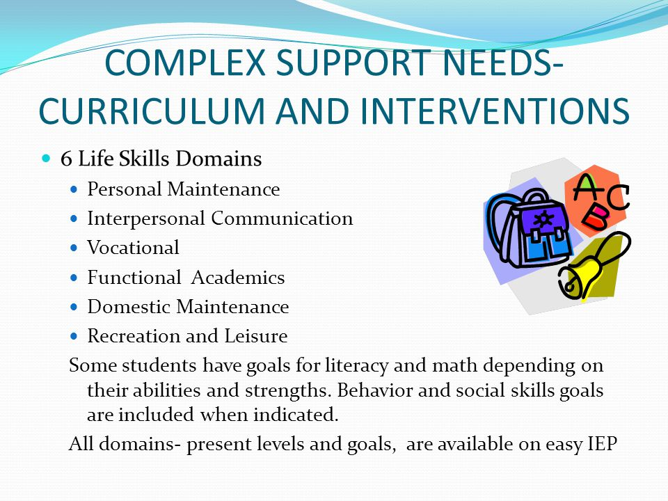 COMPLEX SUPPORT NEEDS-CURRICULUM AND INTERVENTIONS