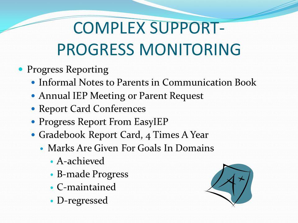 COMPLEX SUPPORT- PROGRESS MONITORING
