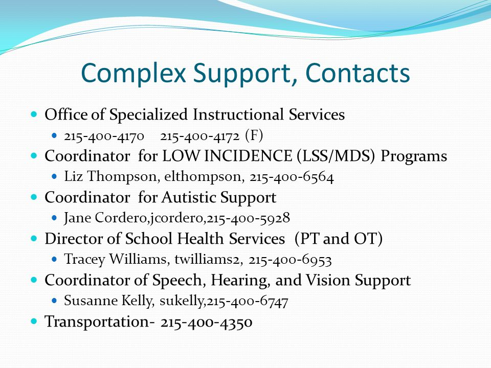 Complex Support, Contacts