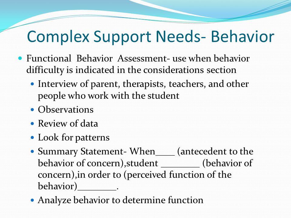 Complex Support Needs- Behavior