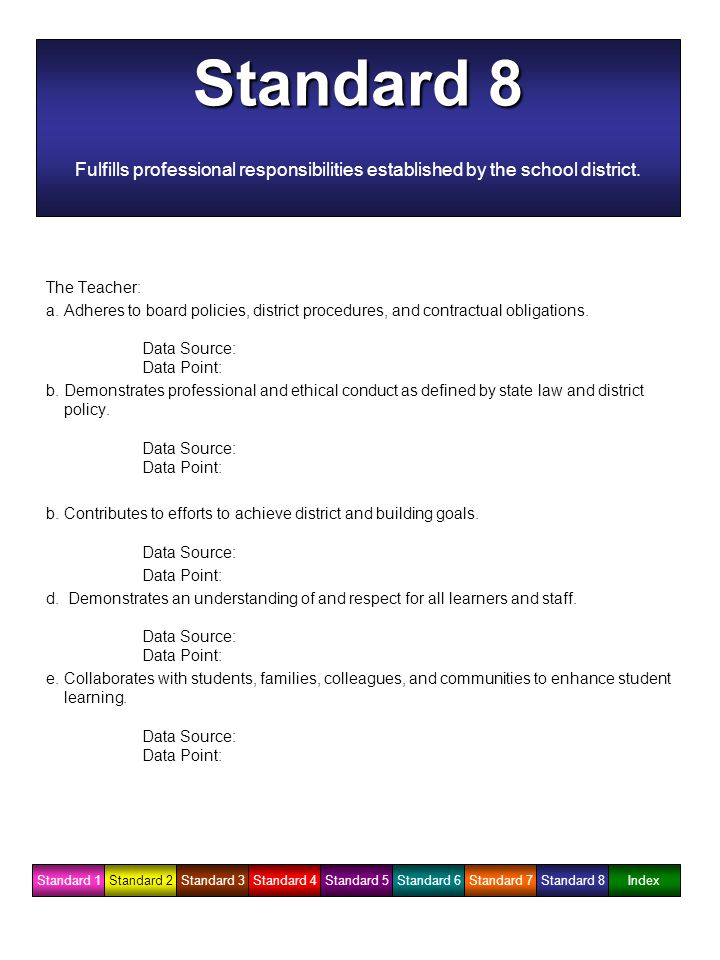 Standard 8 Fulfills professional responsibilities established by the school district.