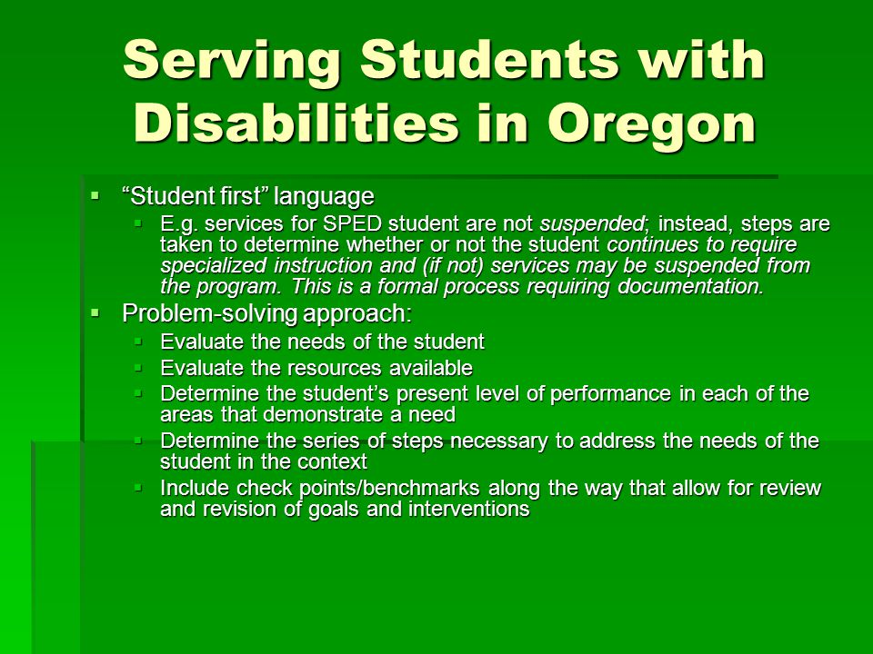 Serving Students with Disabilities in Oregon