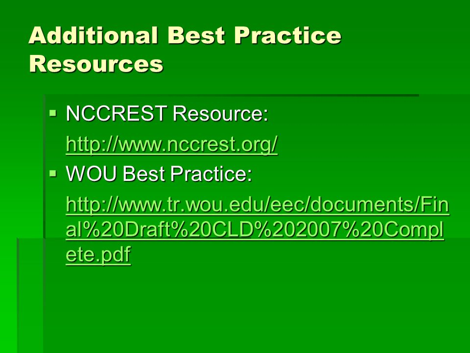 Additional Best Practice Resources
