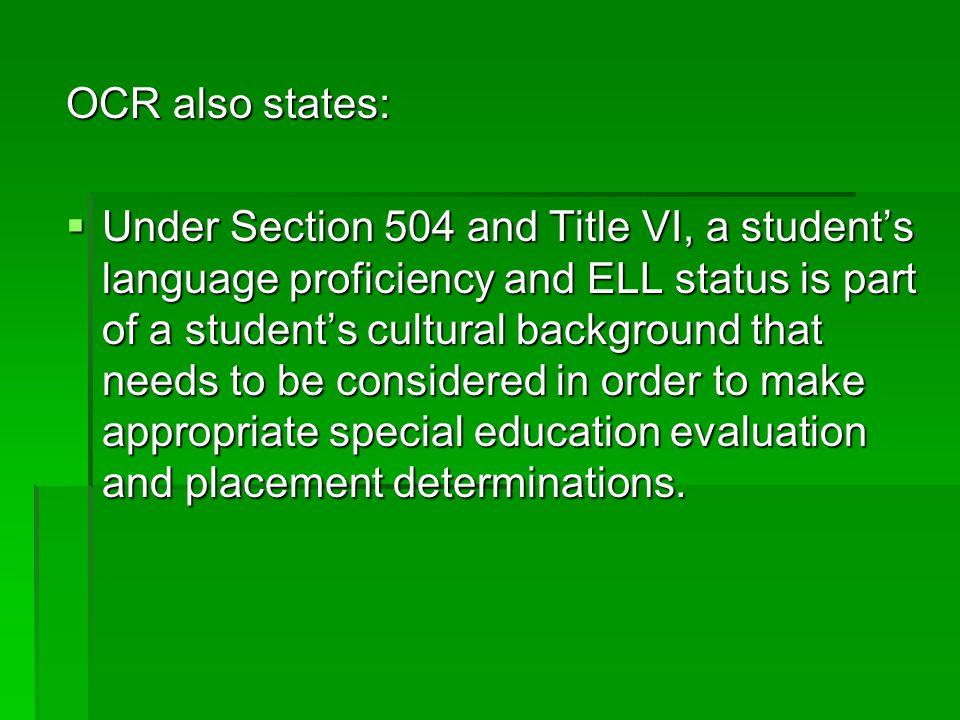 OCR also states: