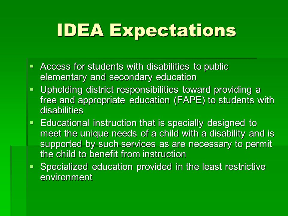 IDEA Expectations Access for students with disabilities to public elementary and secondary education.