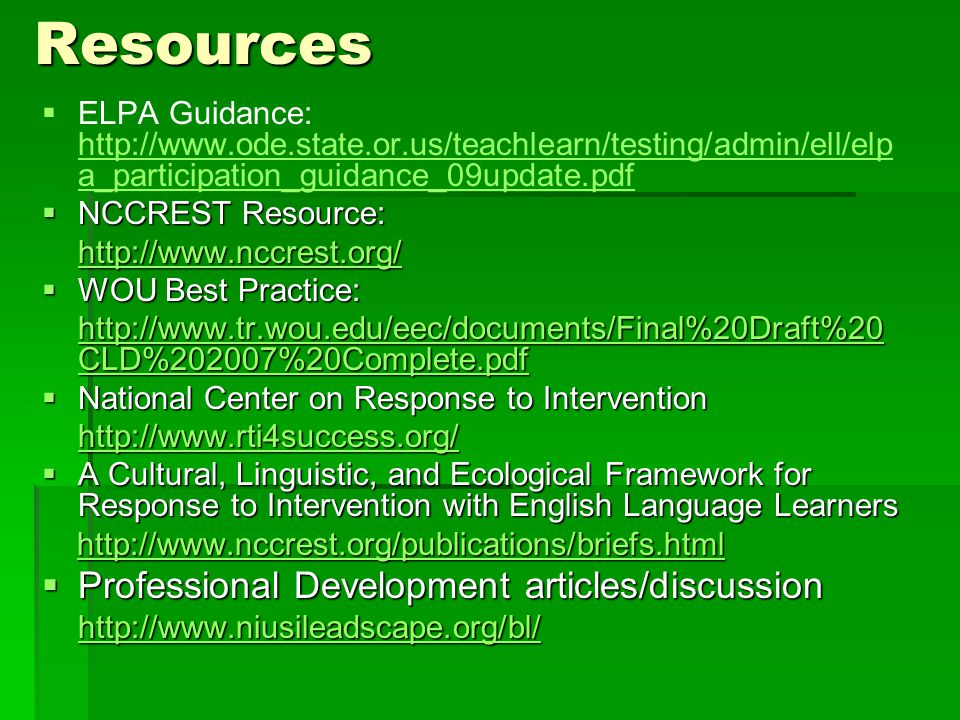 Resources Professional Development articles/discussion