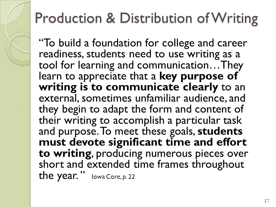 Production & Distribution of Writing