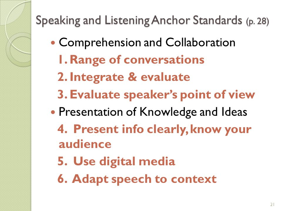 Speaking and Listening Anchor Standards (p. 28)