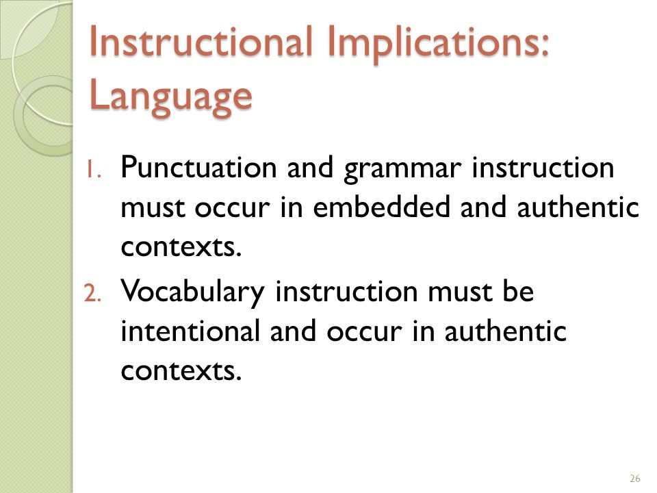 Instructional Implications: Language
