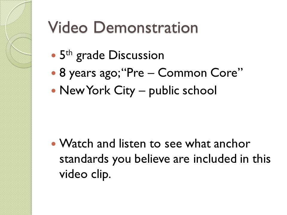Video Demonstration 5th grade Discussion