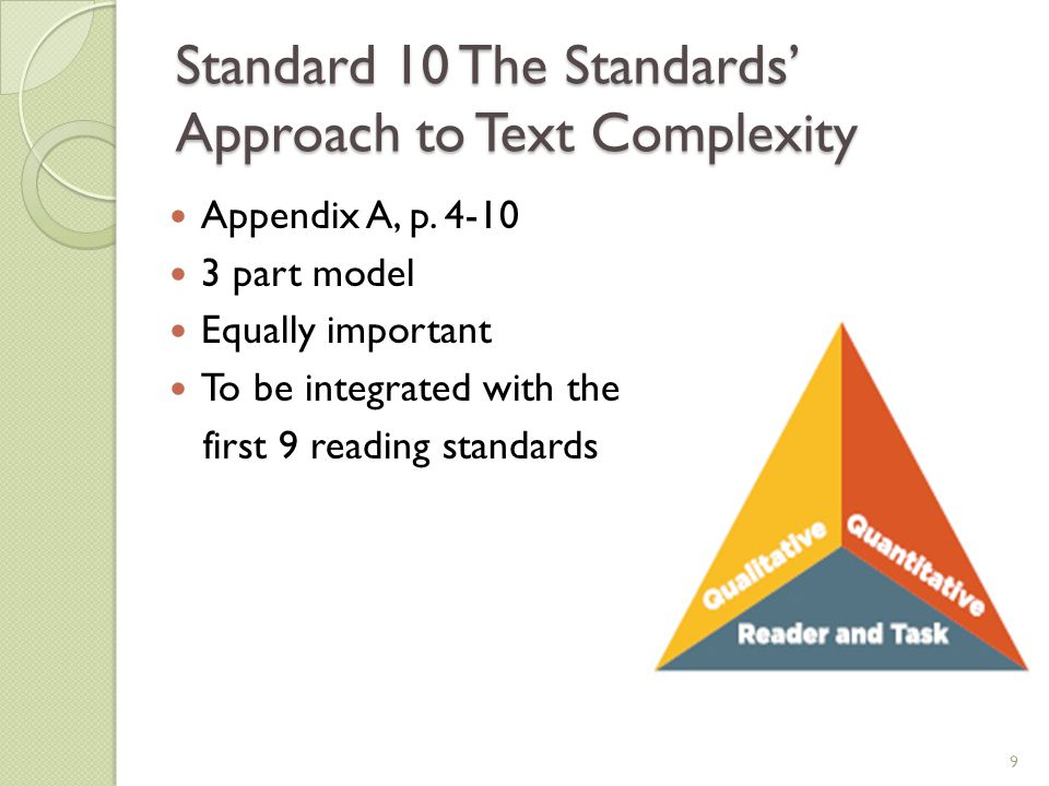 Standard 10 The Standards' Approach to Text Complexity