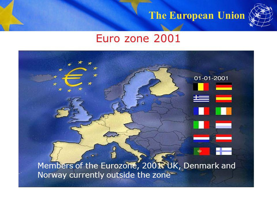 Euro zone 2001 Members of the Eurozone, 2001. UK, Denmark and Norway currently outside the zone