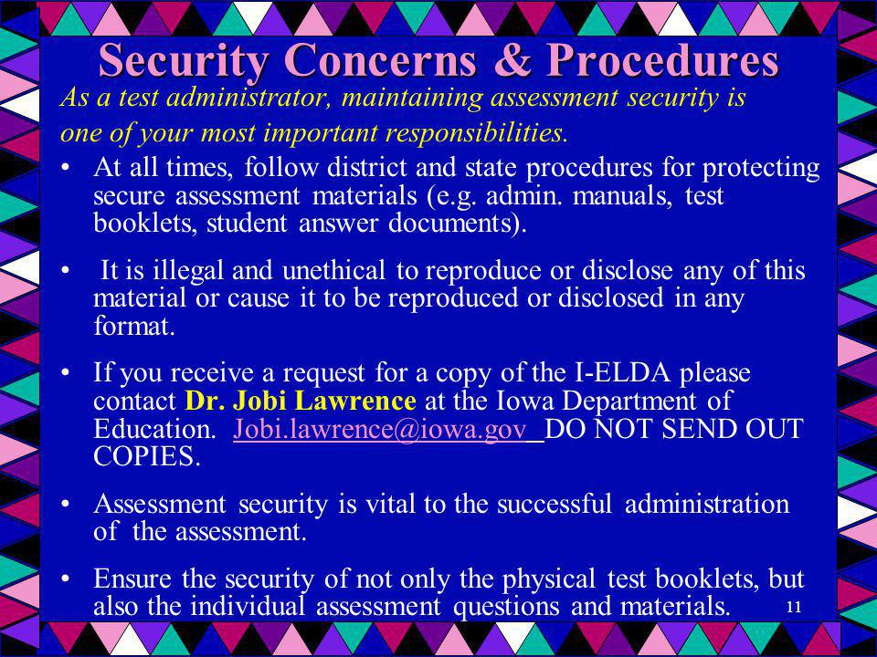 Security Concerns & Procedures