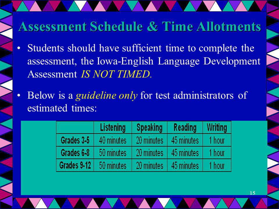 Assessment Schedule & Time Allotments