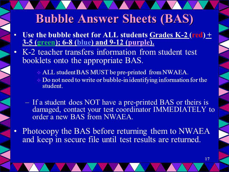 Bubble Answer Sheets (BAS)