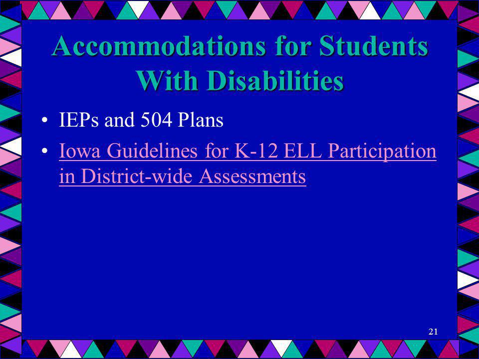 Accommodations for Students With Disabilities