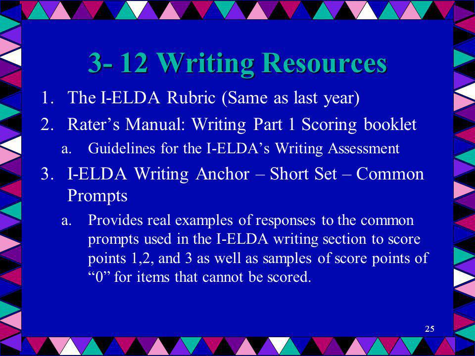 3- 12 Writing Resources The I-ELDA Rubric (Same as last year)