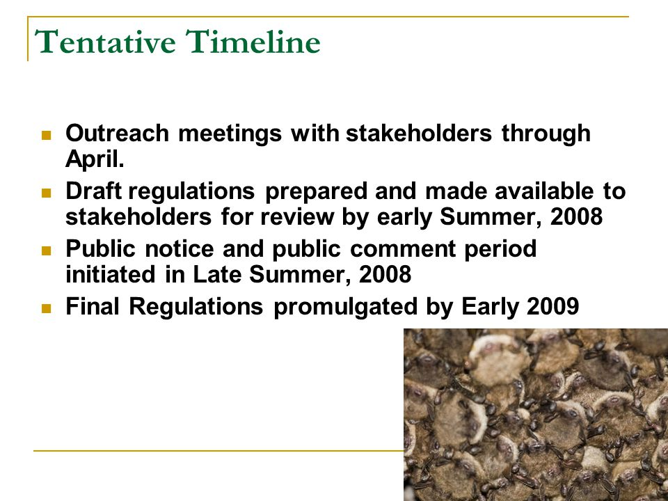 Tentative Timeline Outreach meetings with stakeholders through April.