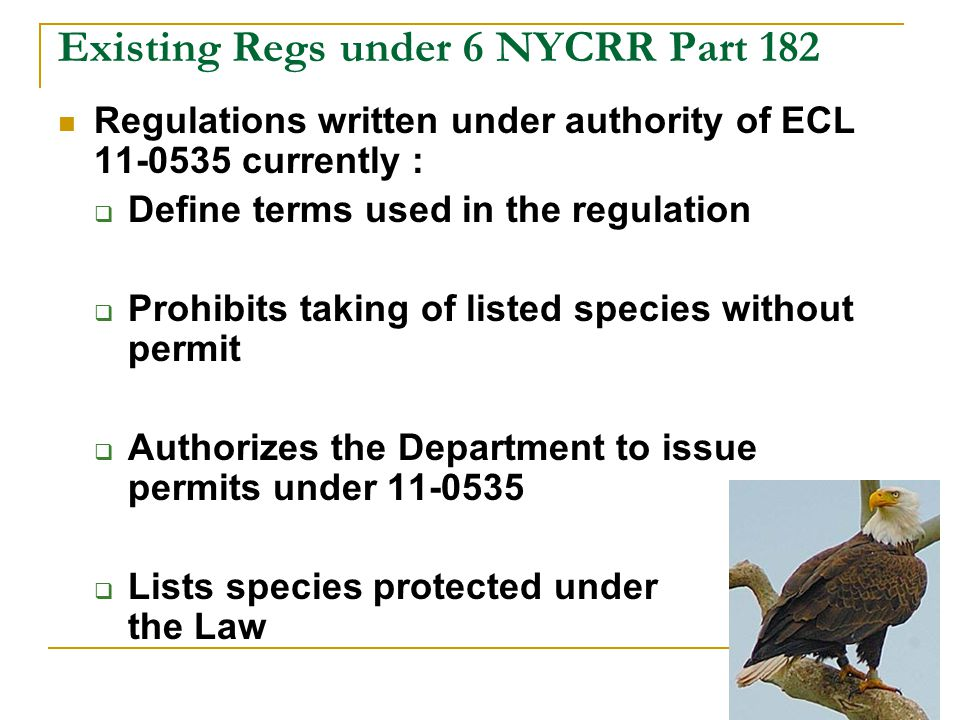 Existing Regs under 6 NYCRR Part 182