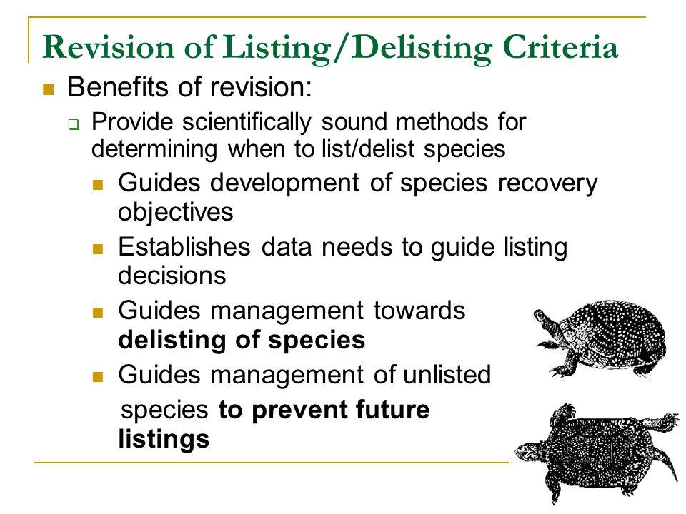 Revision of Listing/Delisting Criteria