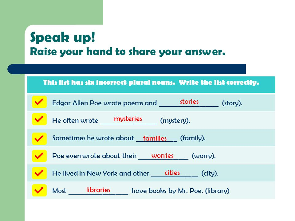 Speak up! Raise your hand to share your answer.