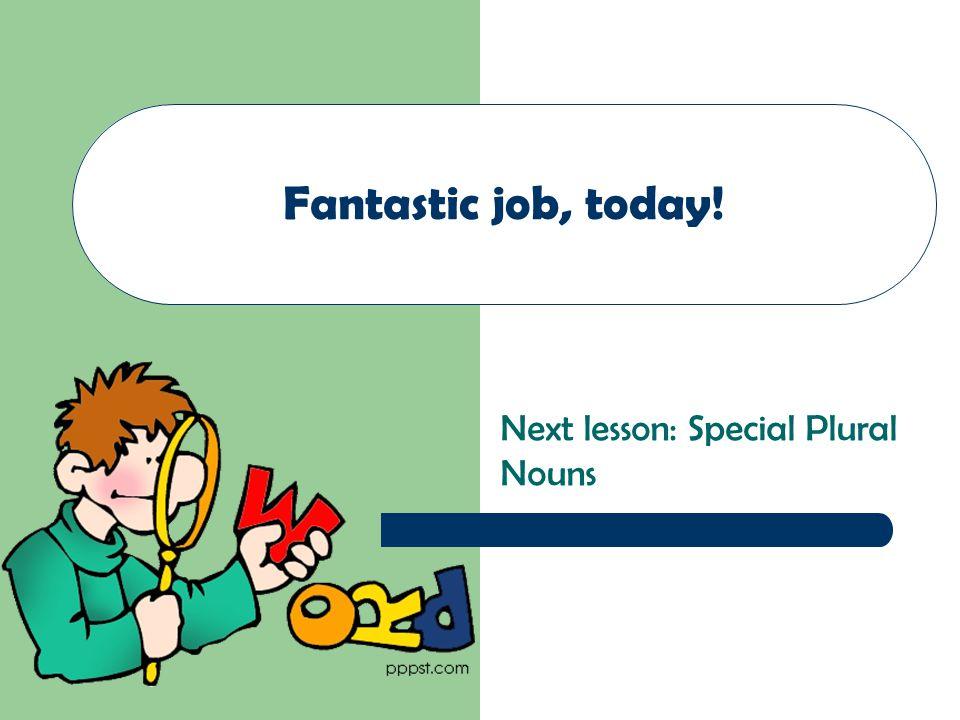 Next lesson: Special Plural Nouns