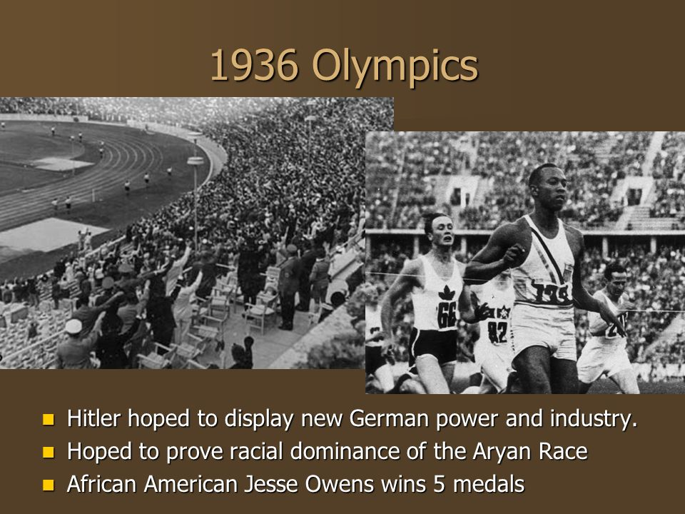1936 Olympics Hitler hoped to display new German power and industry.