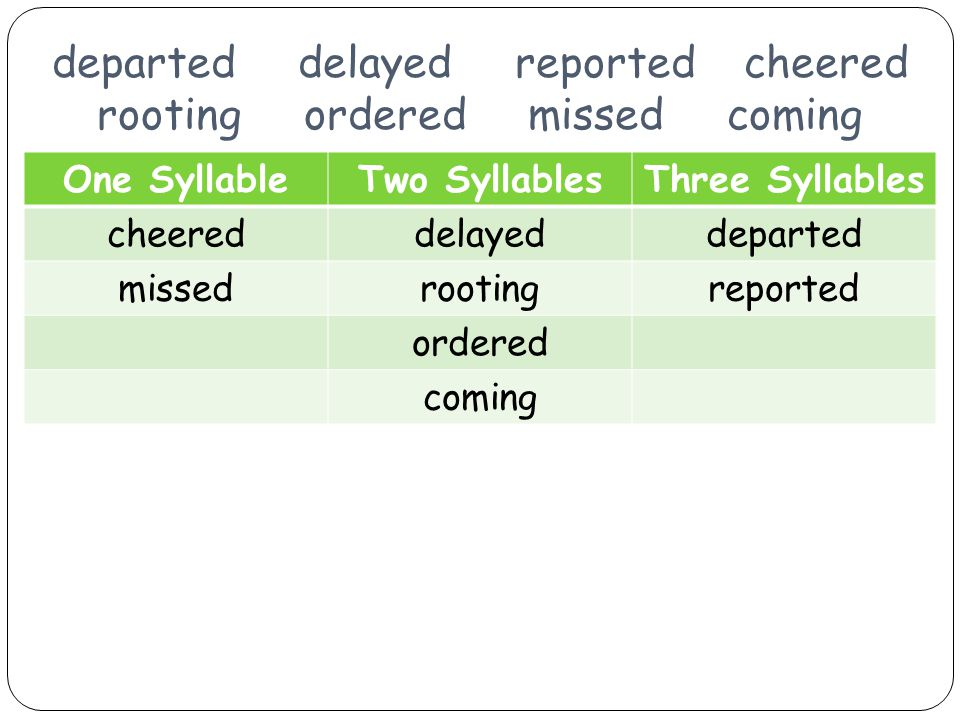 departed delayed reported cheered rooting ordered missed coming