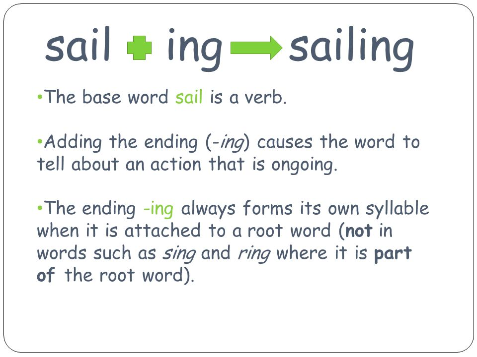 sail ing sailing The base word sail is a verb.