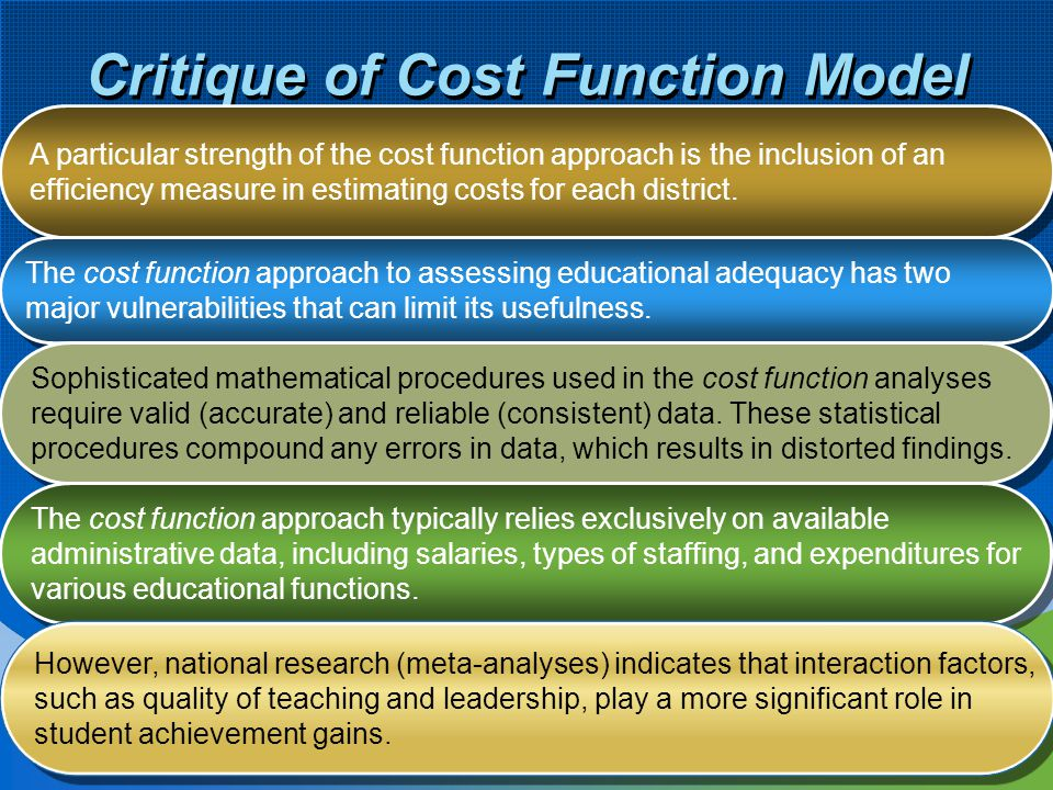 Critique of Cost Function Model