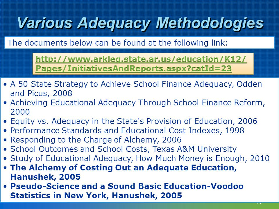 Various Adequacy Methodologies