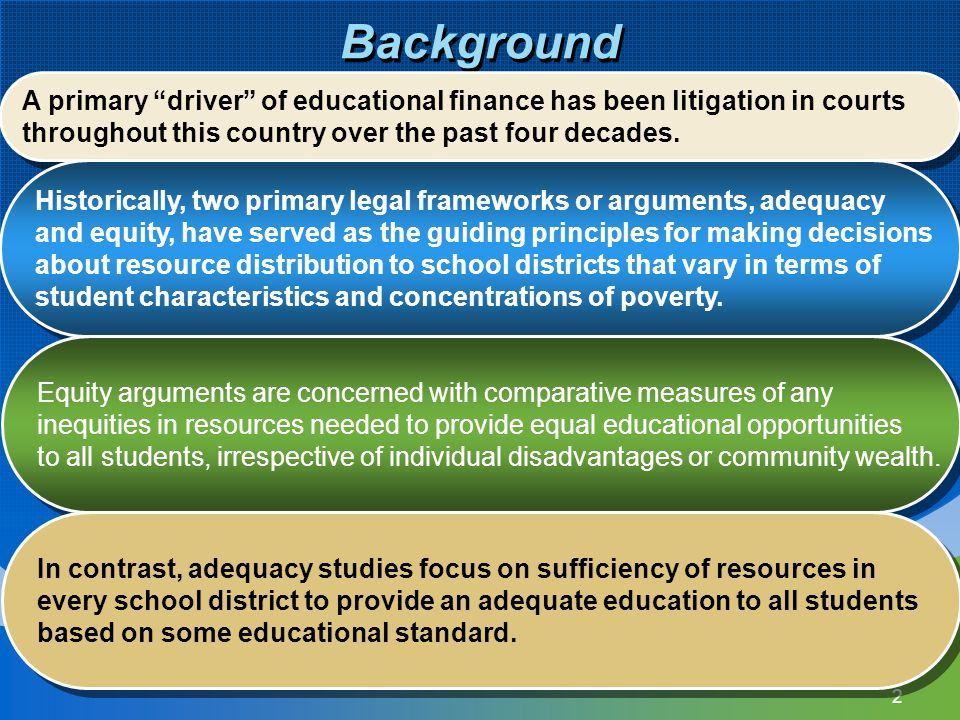 Background A primary driver of educational finance has been litigation in courts. throughout this country over the past four decades.