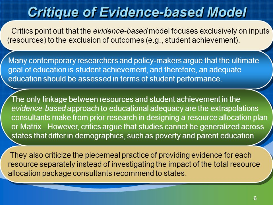 Critique of Evidence-based Model