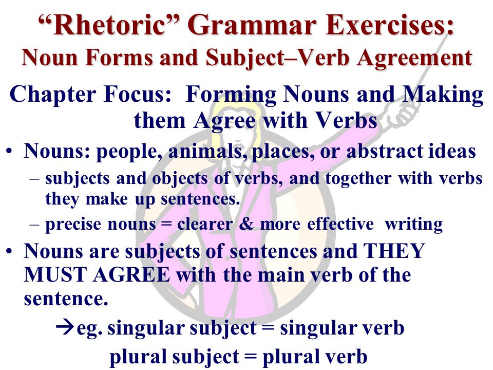 Rhetoric Grammar Exercises: Noun Forms and Subject–Verb Agreement