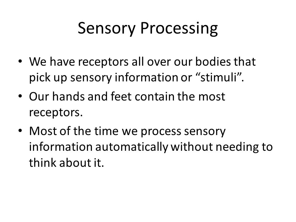 Sensory Processing We have receptors all over our bodies that pick up sensory information or stimuli .