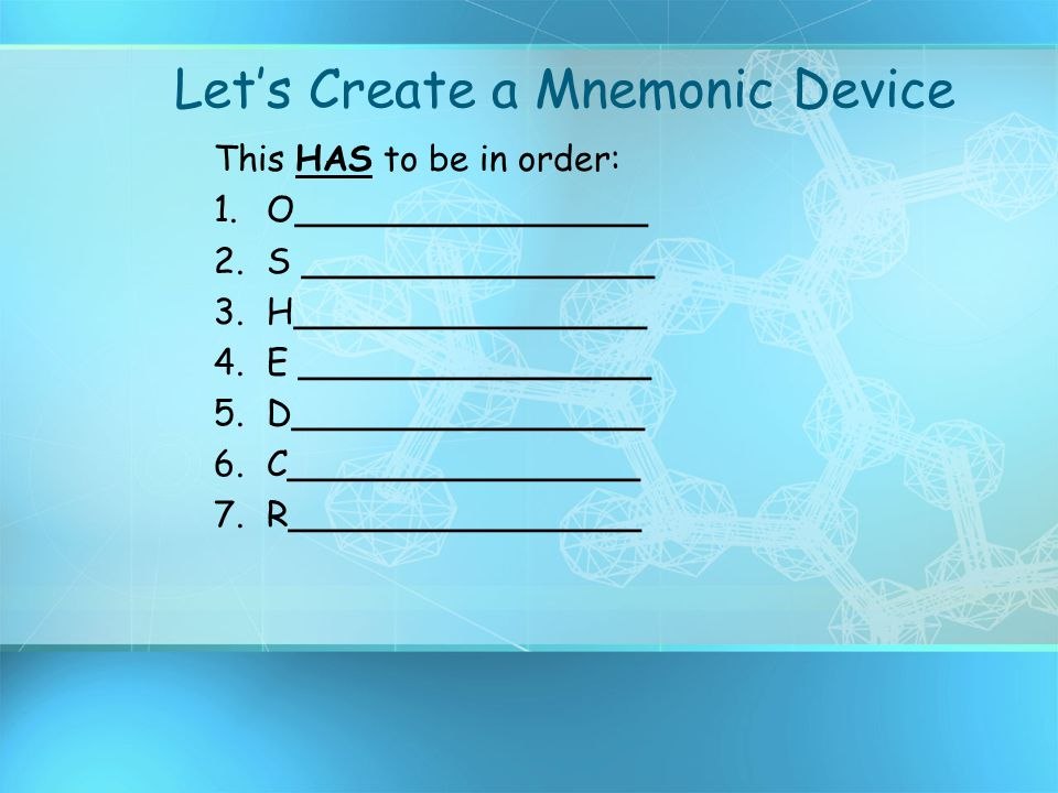Let's Create a Mnemonic Device