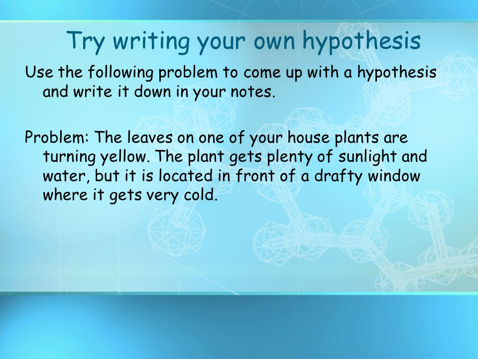 Try writing your own hypothesis